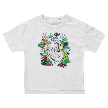 Camiseta de manga corta de punto jaspeado con tigre estampado