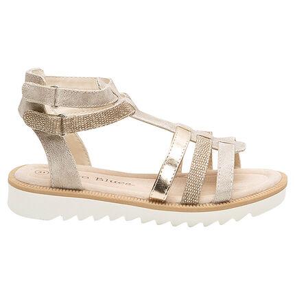 Sandalias con tiras texturizadas y toques dorados