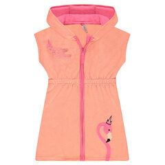 Vestido con capucha de toalla con flamenco rosa bordado