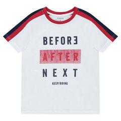 Júnior - Camiseta de manga corta con mensaje estampado