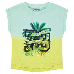 Camiseta de manga corta de punto tie and dye con estampado de fantasía