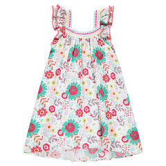 Vestido de volantes con estampado de flores all-over
