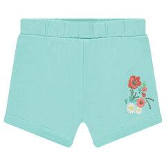 Pantalón corto de punto con flores bordadas