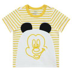 Camiseta de manga corta de rayas Disney con estampado Mickey