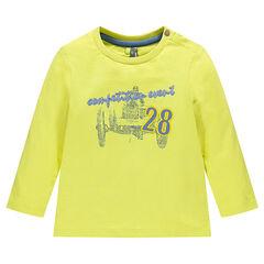 Camiseta manga larga con inscripciones bordadas de color liso