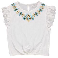 Júnior - Túnica de crepón con cenefa bordada de estilo étnico