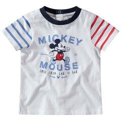 Camiseta de manga corta con Mickey estampado Disney y mangas de rayas