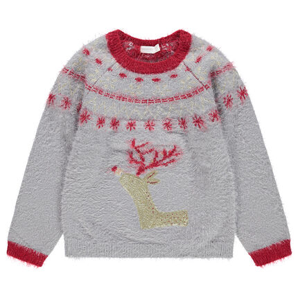Jersey navideño de punto de colas con alce y lentejuelas doradas