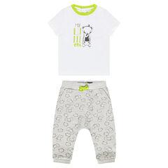 Conjunto de camiseta estampada y pantalón con estampado de animales all over