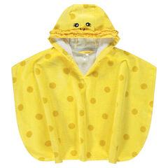 Capa de baño amarilla de toalla con lunares y detalles bordados