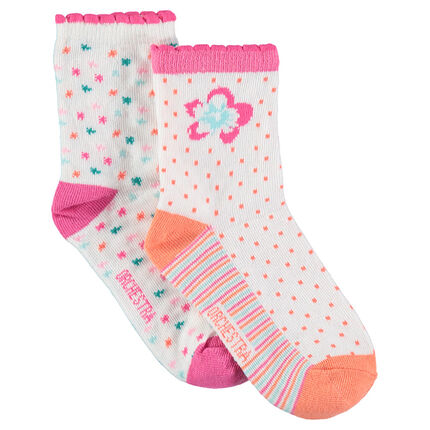 Juego de 2 pares de calcetines variados con dibujos de jacquard de colores