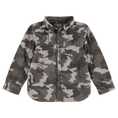 Camisa de manga larga con estampado militar y bolsillo