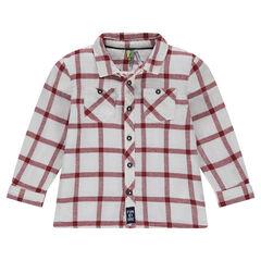 Camisa de manga larga con amplios cuadros que contrastan