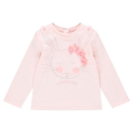 Camiseta de manga larga de punto con conejo estampado y flores de relieve