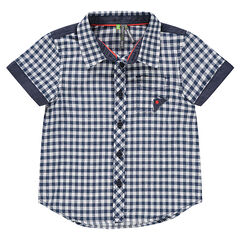 Camisa de manga corta de vichy con bolsillos y detalles de chambray