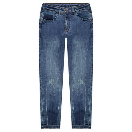 Júnior - Vaqueros de efecto desgastado con bolsillos y marcas de bolsillos.