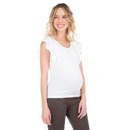 Camiseta de premamá con manga corta con volantes