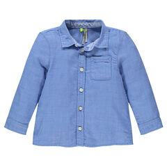 Camisa manga larga de algodón con bolsillo