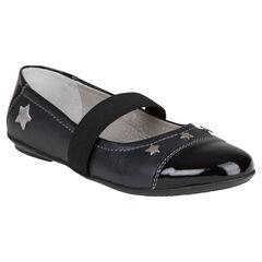 Zapatos merceditas con cinta elástica de cuero de color negro con remaches