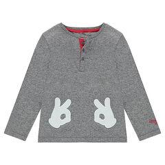 Camiseta de manga larga de punto asargado con guantes de Mickey cosidos ©Disney