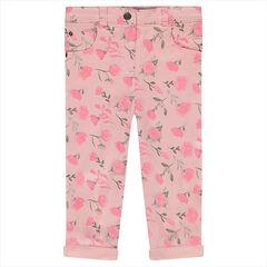 Pantalón de algodón con rosas estampadas all over