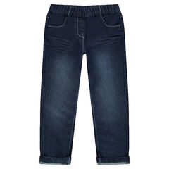Jeans efecto usado y efecto crinkle cintura elástica