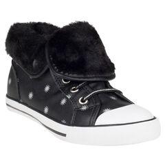 Zapatillas de deporte de caña alta cierre de cremallera y con cordones con pliegue de telas sherpa con estrellas