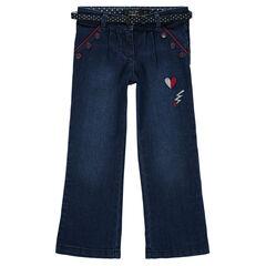 Jeans largos con bordado con cinturón desmontable