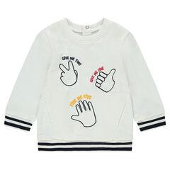 Sudadera de flepa con manos y mensaje estampados