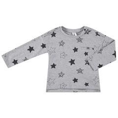 Camiseta de manga larga de punto con estampado de estrellas all over