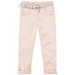 Pantalón slim con cinturón trenzado desmontable