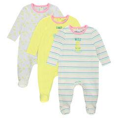 Pack de 3 pijamas de algodón con estampados tropicales