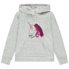 Sudadera de felpa con capucha estampada unicornio con crin en relieve