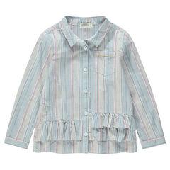 Camisa de mangas largas y rayas verticales con volantes