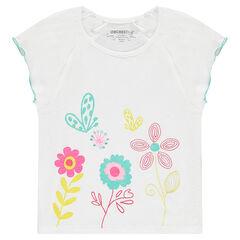 Camiseta de manga corta de punto slub con flores bordadas y estampadas