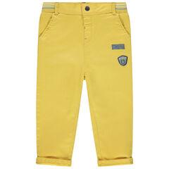 Pantalon droit jaune à taille élastiquée