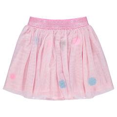 Falda con volantes de tul, dibujos bordados y cintura brillante