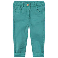 Pantalón slim de algodón teñido con efecto crinkle con corazones bordados en la cintura