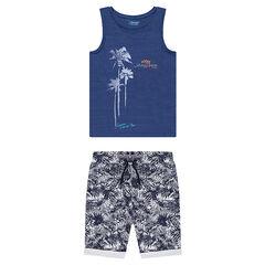 Júnior - Conjunto con camiseta de punto y bermudas con estampado vegetak all over