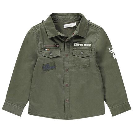 Camisa de sarga de estilo militar con forro de punto con bolsillos