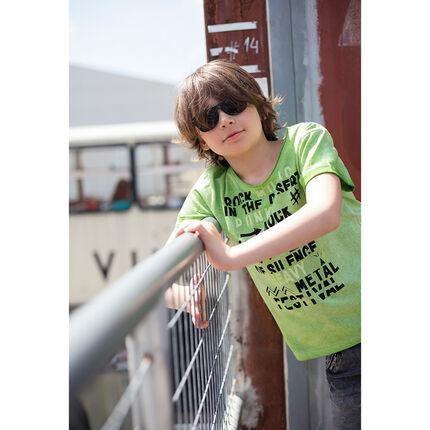 Júnior - Camiseta de manga corta de punto sobreteñido con inscripciones estampadas