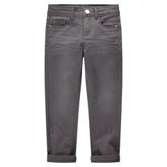 Pantalón de sarga teñido con efecto arrugado