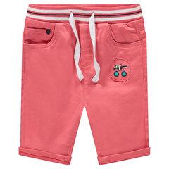 Bermudas de algodón teñido con cintura elástica