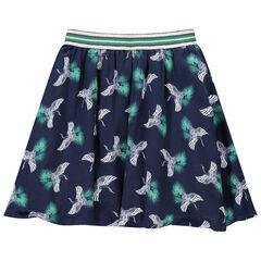 Falda con pájaros estampados y cintura elástica