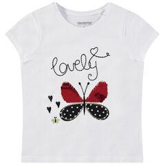 Camiseta de manga corta lisa con mariposa de lentejuelas