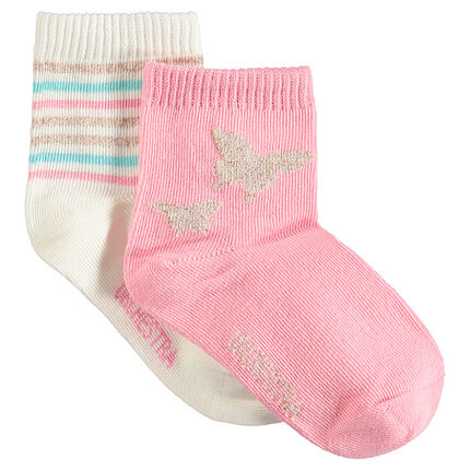 Juego de 2 pares de calcetines con motivos brillantes