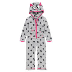 Pijama de gato de borreguillo con orejas de relieve y bolsillos