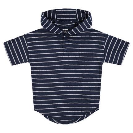 Júnior - Camiseta de manga cortaon capucha a rayas all-over con bolsillo