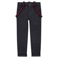 Júnior - Pantalón de algodón teñido con tirantes demsontables