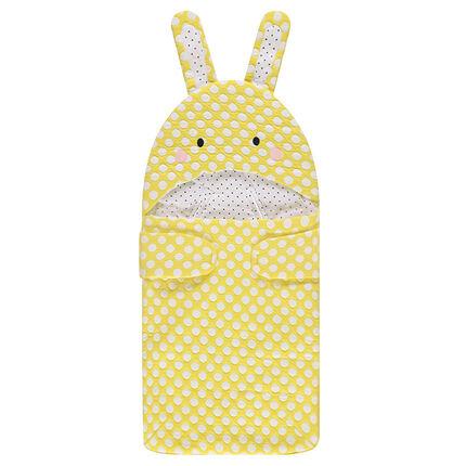 Saco de dormir con lunares y forma de conejo